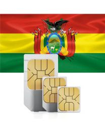 Bolivian flag data sim card for use in Bolivia