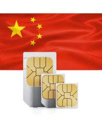China incl. Hong Kong & Macao flag in from of trio SIM card