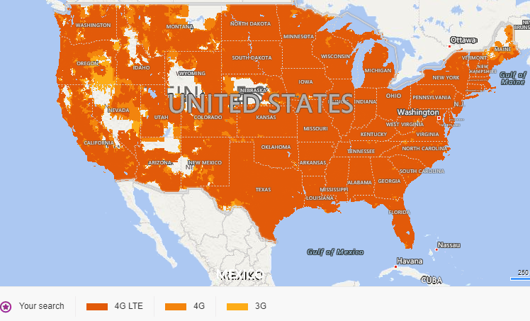 Coverage map for AT&T network